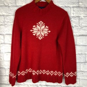 Red Wool Blend Fuzzy Snowflake Sweater